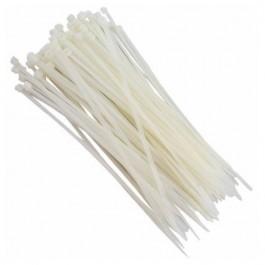Abraçadeira de Nylon 200mm x 2,5mm Branca com 100 Peças