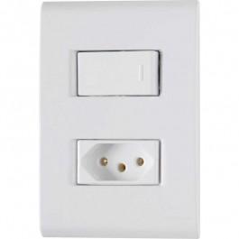 Interruptor 1 Tecla Simples e Tomada 2 X 4 Com Placa Liz Tramontina