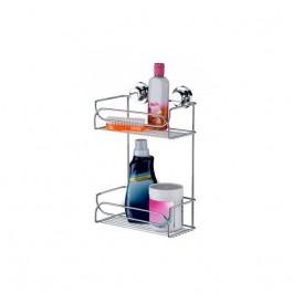 Suporte Duplo Porta Shampoo Sabonete Aço Cromado com Ventosas