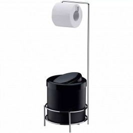 Suporte Porta Papel Higiênico Aço Cromado Com Lixeira Preta