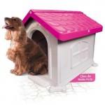 Casinha Cachorro Plástica Desmontável Rosa N.3