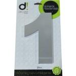 Número Residencial Algarismo Alumínio Espelhado com PVC 20 Cm No 1 Decore