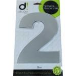 Número Residencial Algarismo Alumínio Espelhado com PVC 20 Cm No 2 Decore
