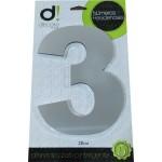 Número Residencial Algarismo Alumínio Espelhado com PVC 20 Cm No 3 Decore