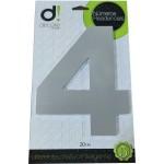 Número Residencial Algarismo Alumínio Espelhado com PVC 20 Cm No 4 Decore